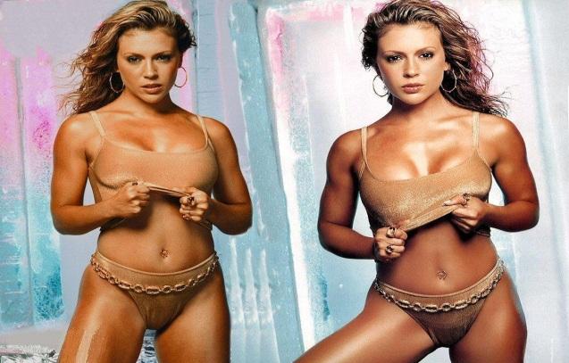 Alyssa Milano Sexy Bikini Wallpaper