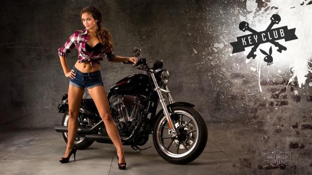 Brunette Girl In Hotpants Next To Harley Davidson HD Wallpaper