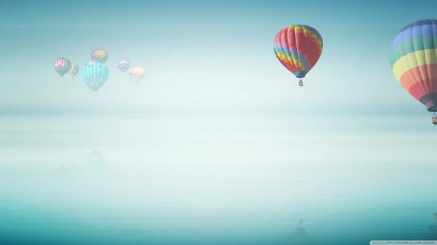 Hot Air Balloon Above The Ocean Wallpaper