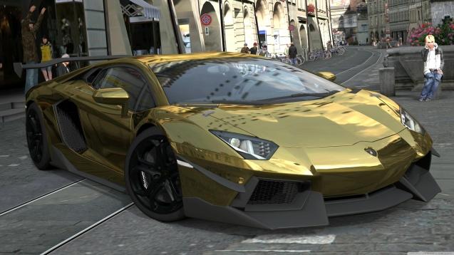 Lamborghini Aventador LP700-4 Gold Chrome, Gran Turismo 5 Wallpaper