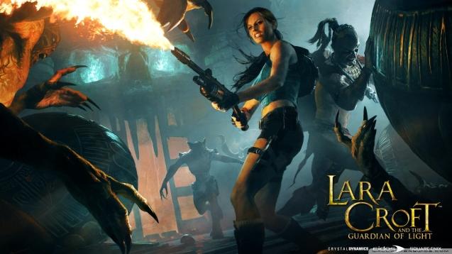 Lara Croft Flamethrower HD Wallpaper