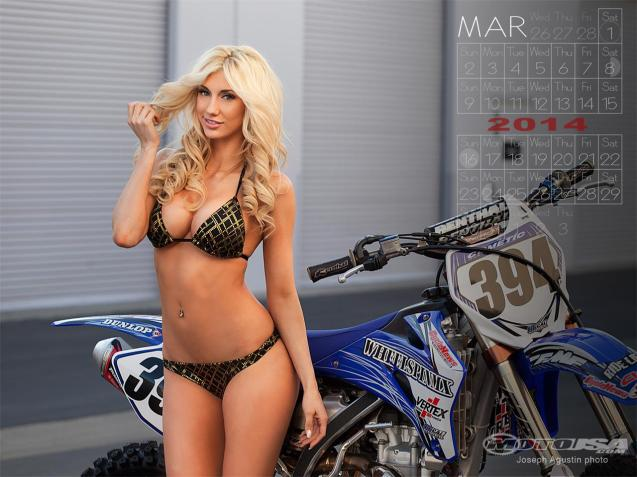 March 2014 Motorcycle Pin-Up Sexy Girl Calendars
