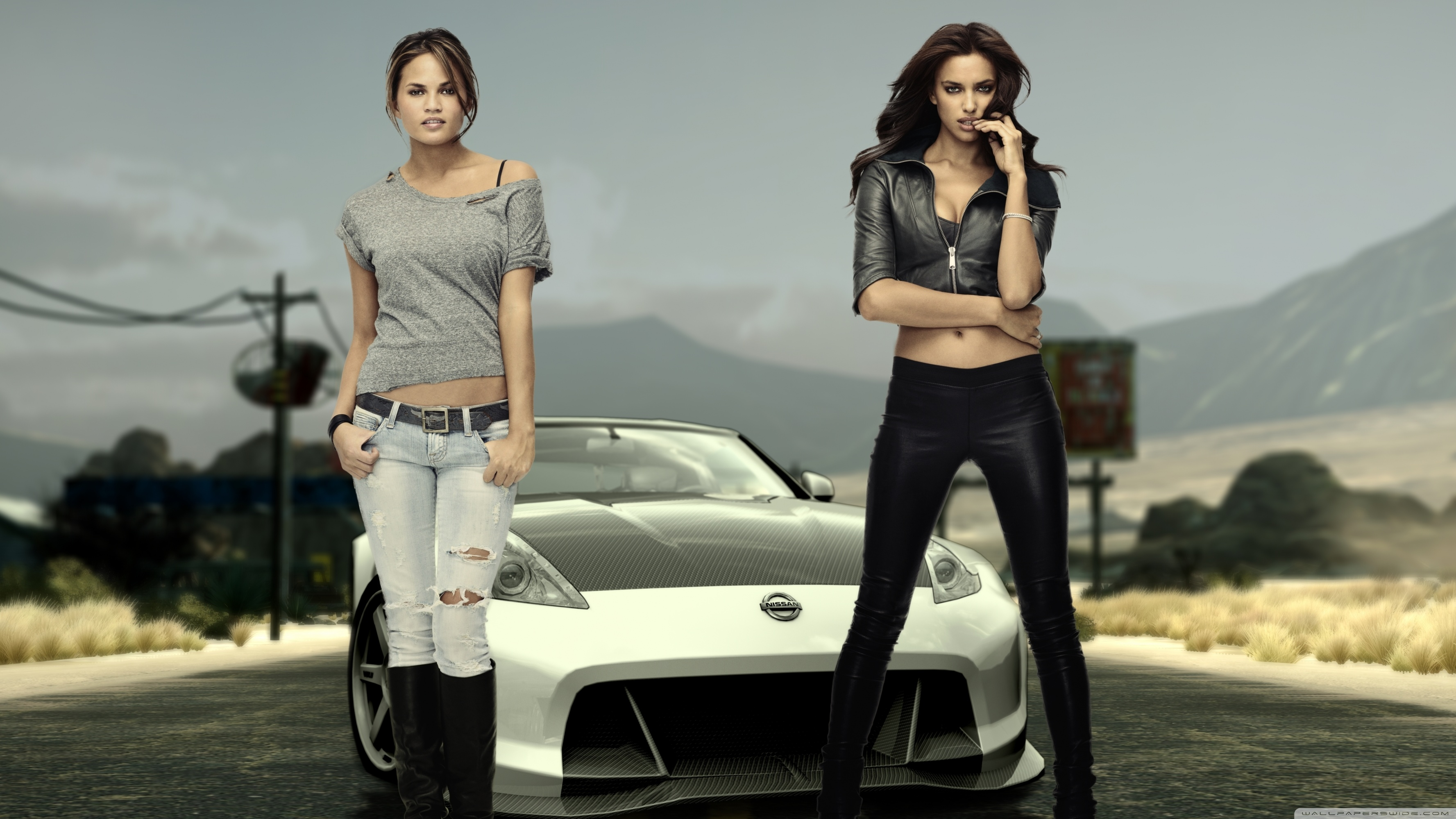 Need For Speed Girls The Run Irina Shayk And Chrissy Teigen Wallpaper