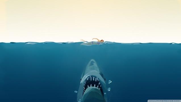 Polygen Shark and Women Wallpaper