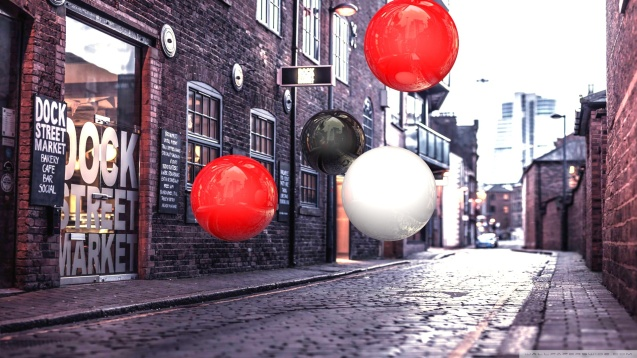 Realistic 3D Spheres On Street Wallpaper
